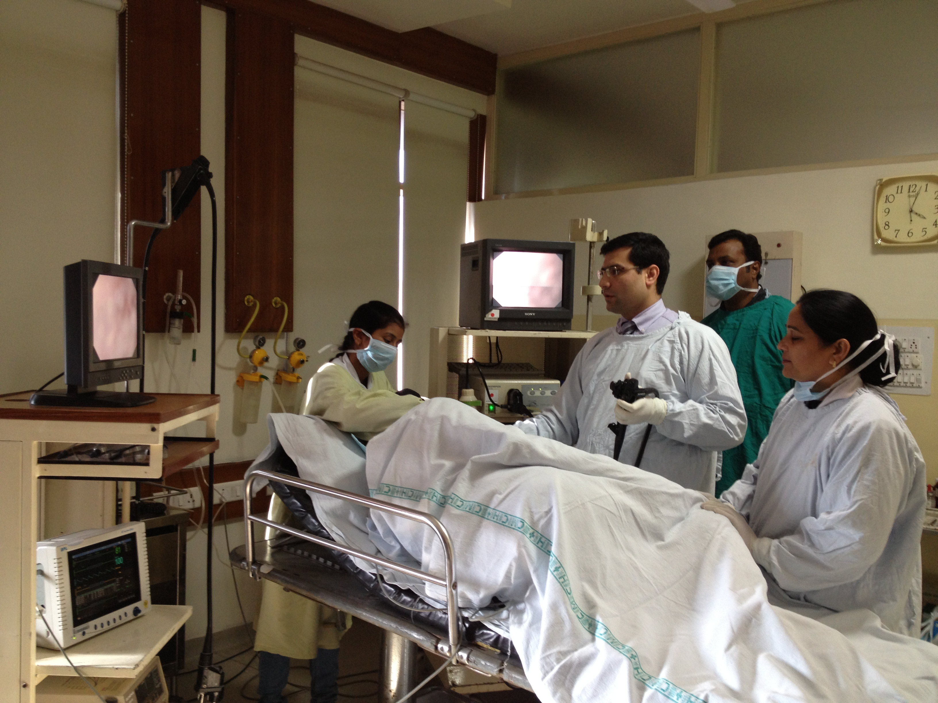 Dr Anish Chopra undertaking upper alimentary endoscopy