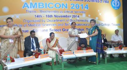Dr. Bharti Uppal was awarded Fellowship of 'Association of Medical Biochemists of India' for her contribution to the field of Medical Biochemistry during the 22nd National Conference AMBICON 2014 at Tirupati, held in November 2014.
