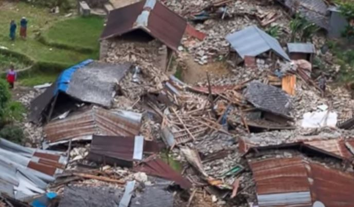 Houses destroyed in Nepal by the earthquake last April 2015